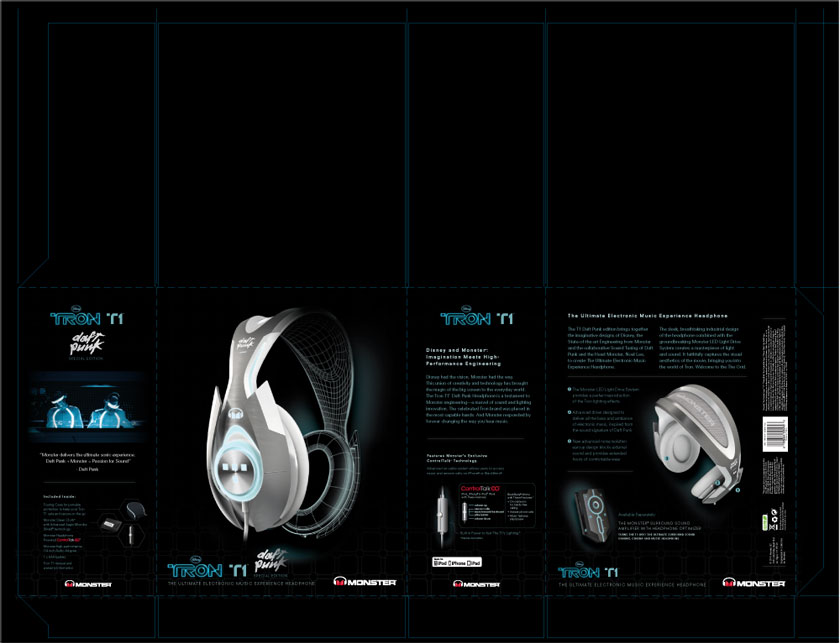 Monster Cable TRON T1 Daft Punk Headphone Packaging