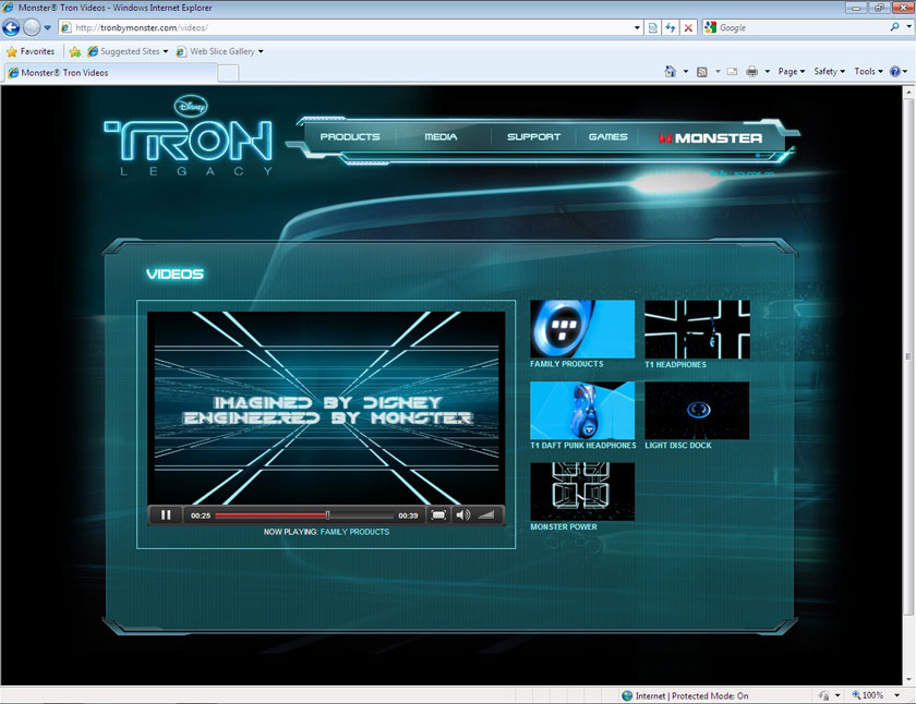 Monster Cable TRON Microsite - Video with Audio