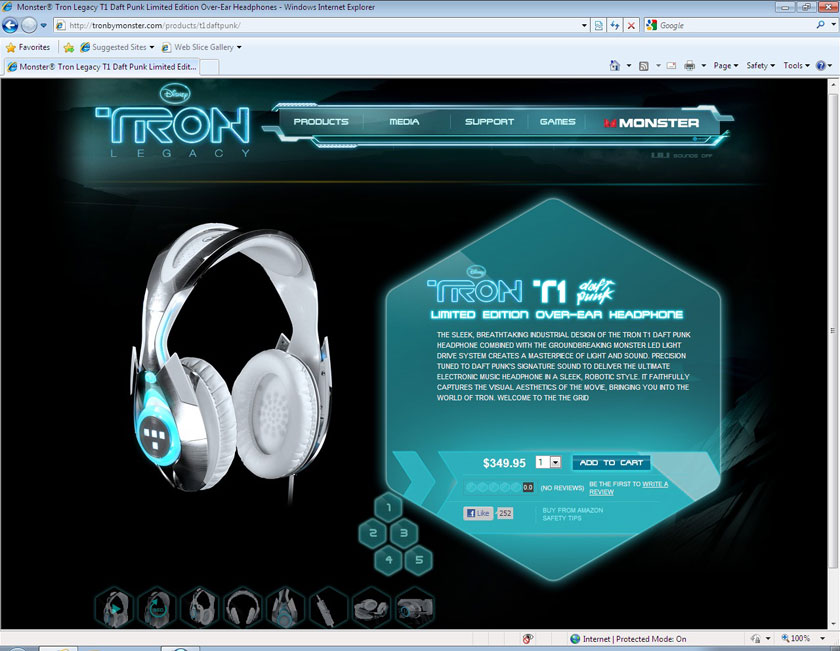 Monster Cable TRON:Legacy Microsite