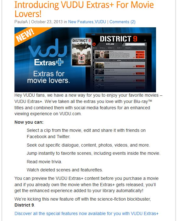 VUDU's Extras+ for movie lovers