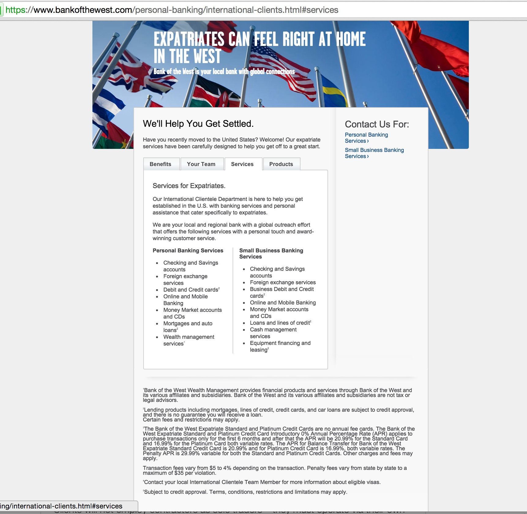 Bank of the West - International Clientele Services tab