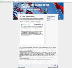 Bank of the West - International Clientele's micro-site