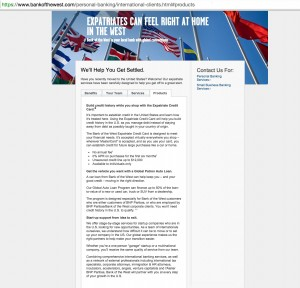 Bank of the West - Internationale Clientele - Products tab